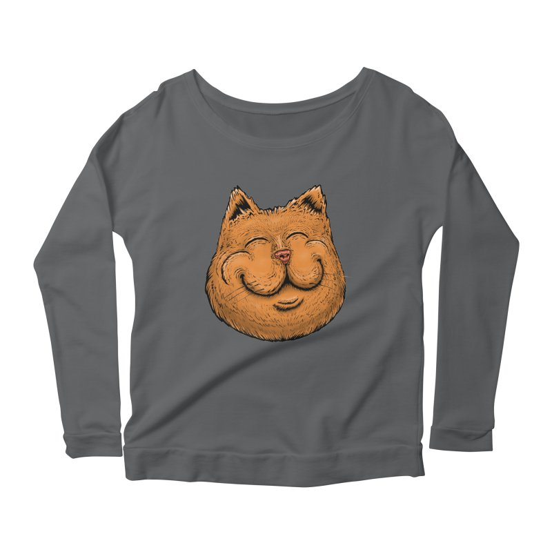 Happy Cat Women's Scoop Neck Longsleeve T-Shirt by IDC Art House
