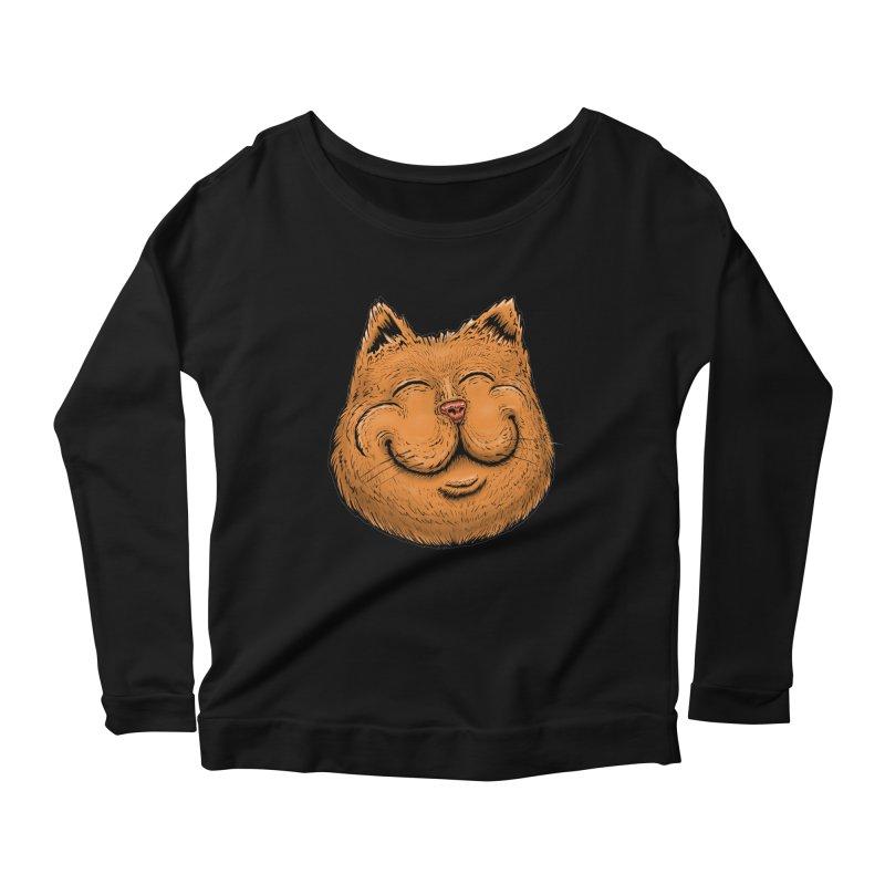 Happy Cat Women's Scoop Neck Longsleeve T-Shirt by Stiky Shop