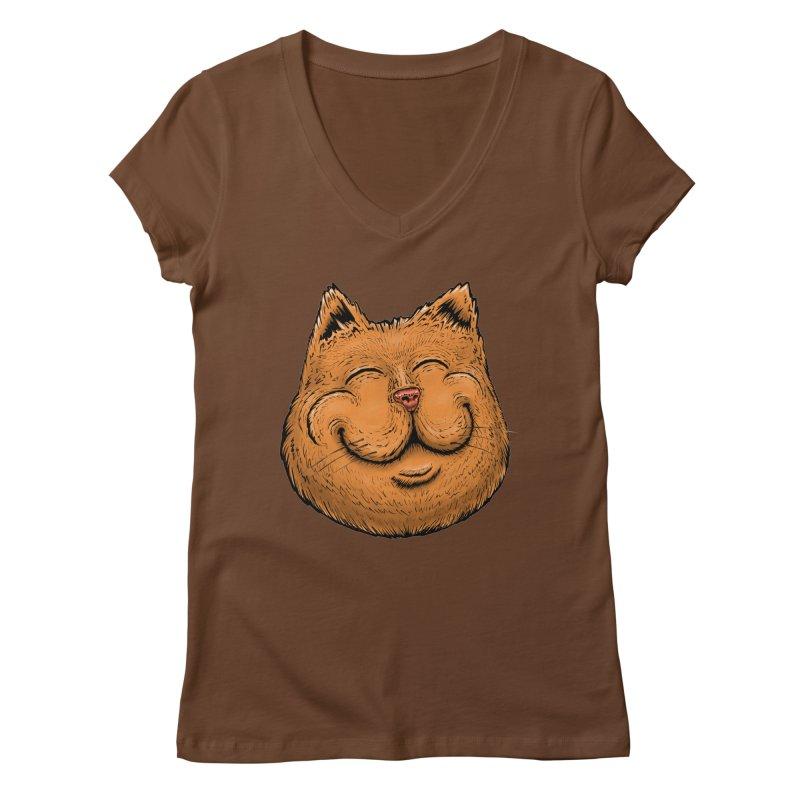 Happy Cat Women's Regular V-Neck by Stiky Shop