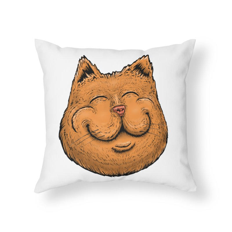 Happy Cat Home Throw Pillow by Stiky Shop
