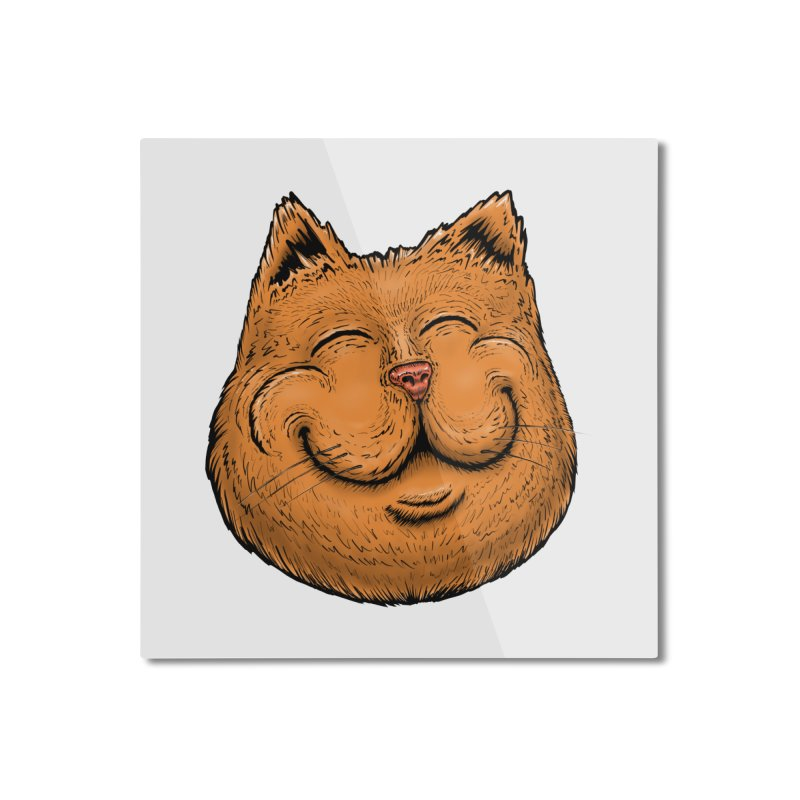 Happy Cat Home Mounted Aluminum Print by Stiky Shop