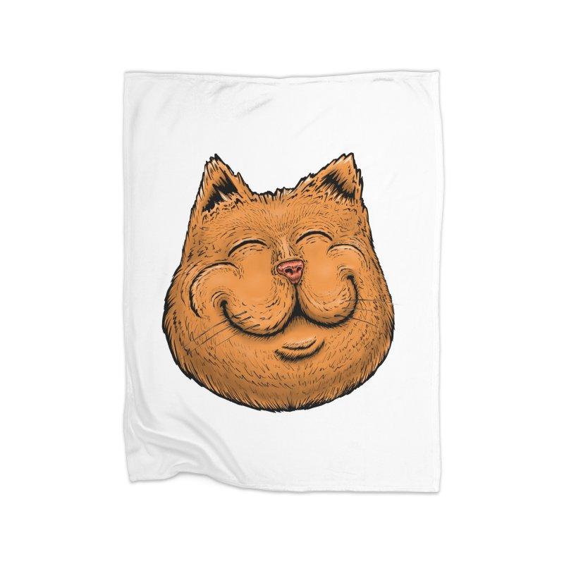 Happy Cat Home Fleece Blanket Blanket by Stiky Shop