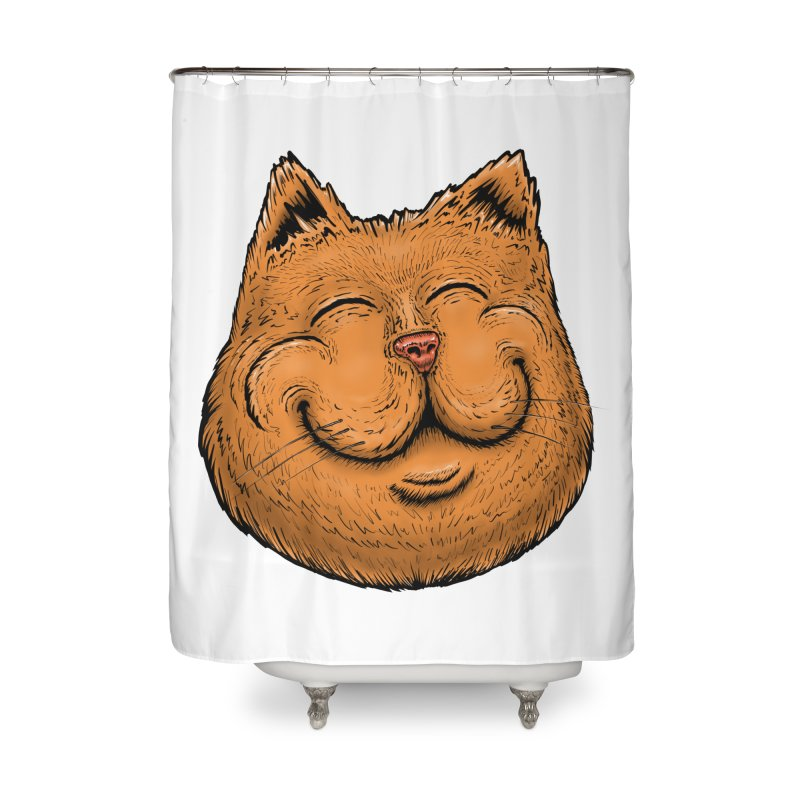 Happy Cat Home Shower Curtain by Stiky Shop