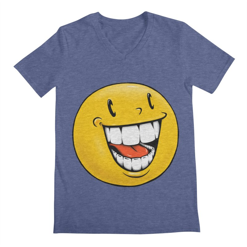 Smiley Emoji Men's Regular V-Neck by IDC Art House