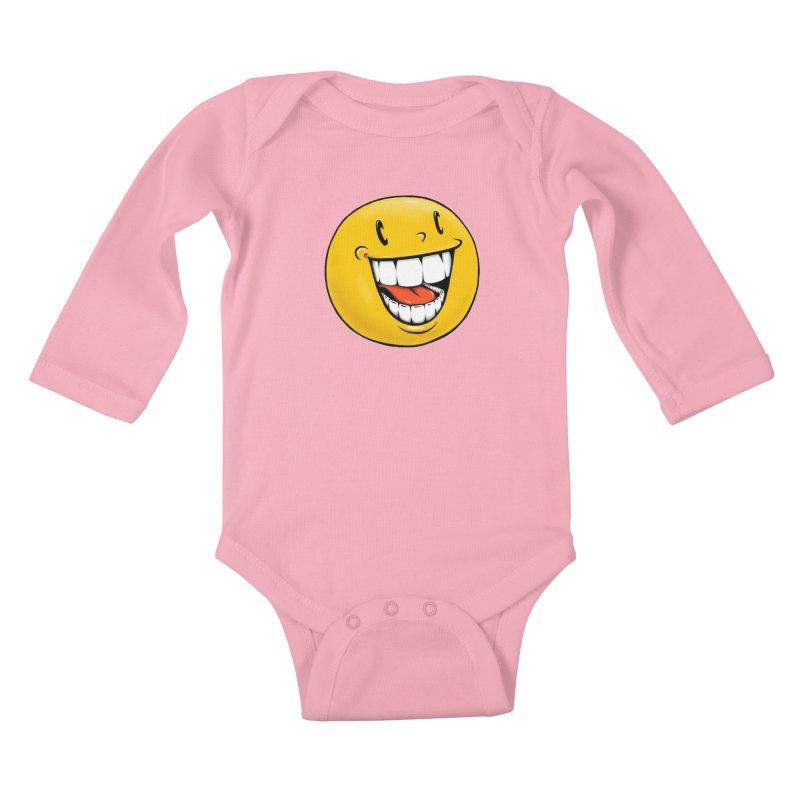 Smiley Emoji Kids Baby Longsleeve Bodysuit by IDC Art House