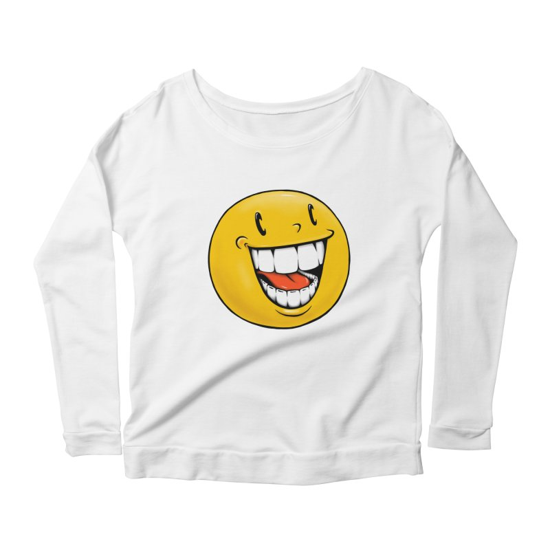 Smiley Emoji Women's Scoop Neck Longsleeve T-Shirt by IDC Art House