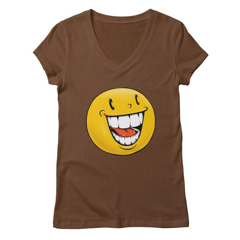 Smiley Emoji Women's Regular V-Neck by IDC Art House