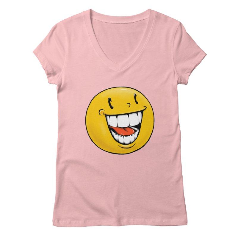 Smiley Emoji Women's Regular V-Neck by Stiky Shop