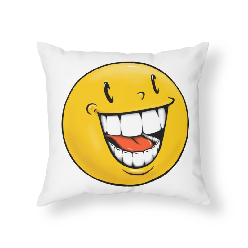 Smiley Emoji Home Throw Pillow by Stiky Shop