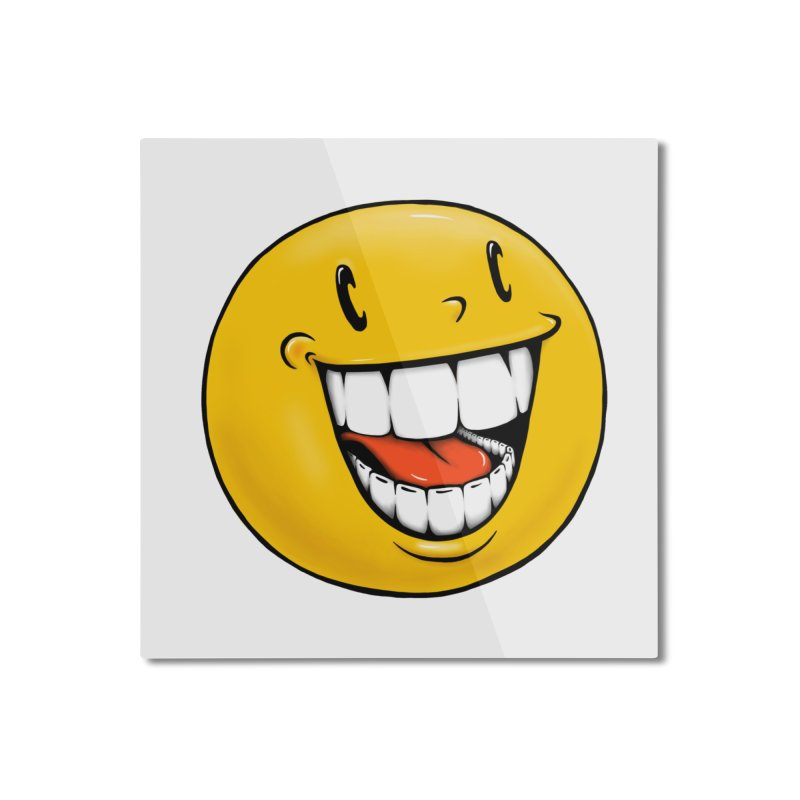 Smiley Emoji Home Mounted Aluminum Print by Stiky Shop