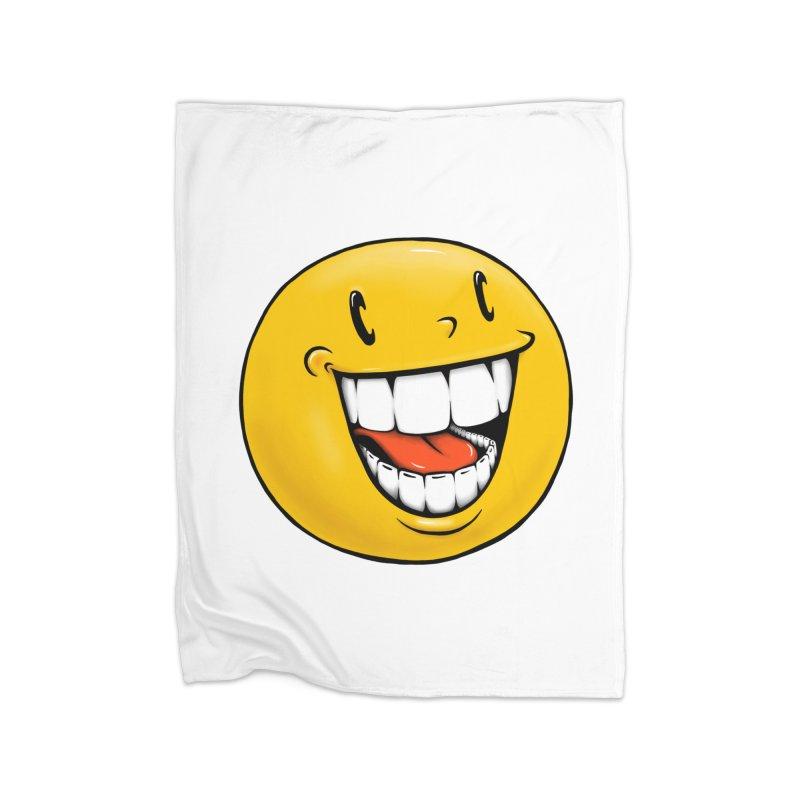 Smiley Emoji Home Fleece Blanket Blanket by Stiky Shop