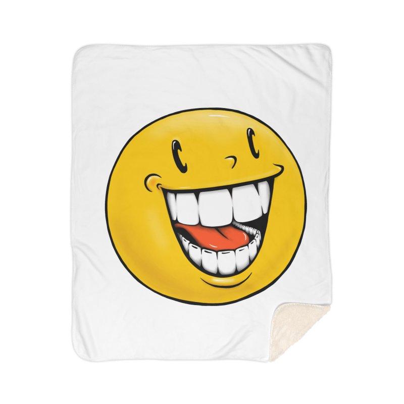Smiley Emoji Home Sherpa Blanket Blanket by Stiky Shop