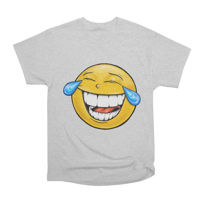 Crying Laughing Emoji Women's Heavyweight Unisex T-Shirt by Stiky Shop