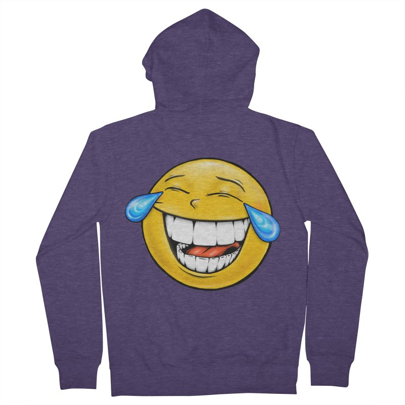 Crying Laughing Emoji Men's French Terry Zip-Up Hoody by IDC Art House