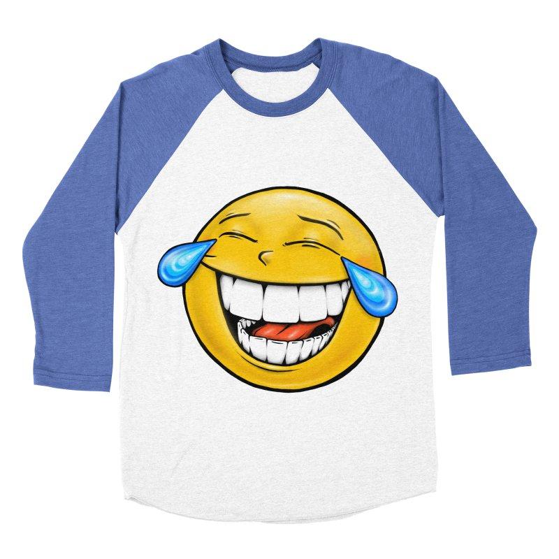 Crying Laughing Emoji Women's Baseball Triblend Longsleeve T-Shirt by IDC Art House
