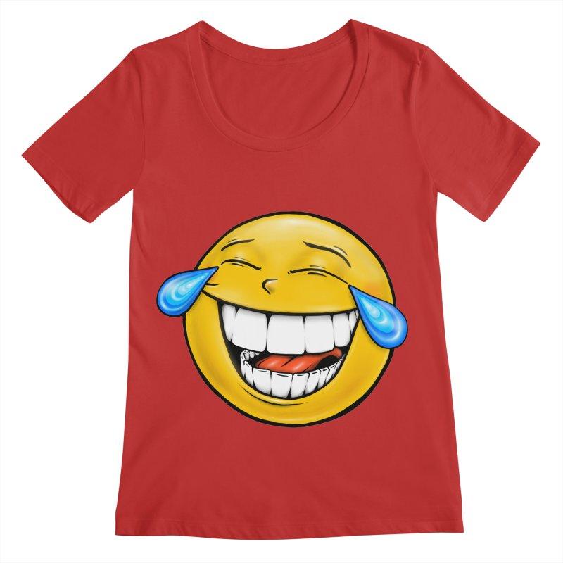 Crying Laughing Emoji Women's Regular Scoop Neck by Stiky Shop