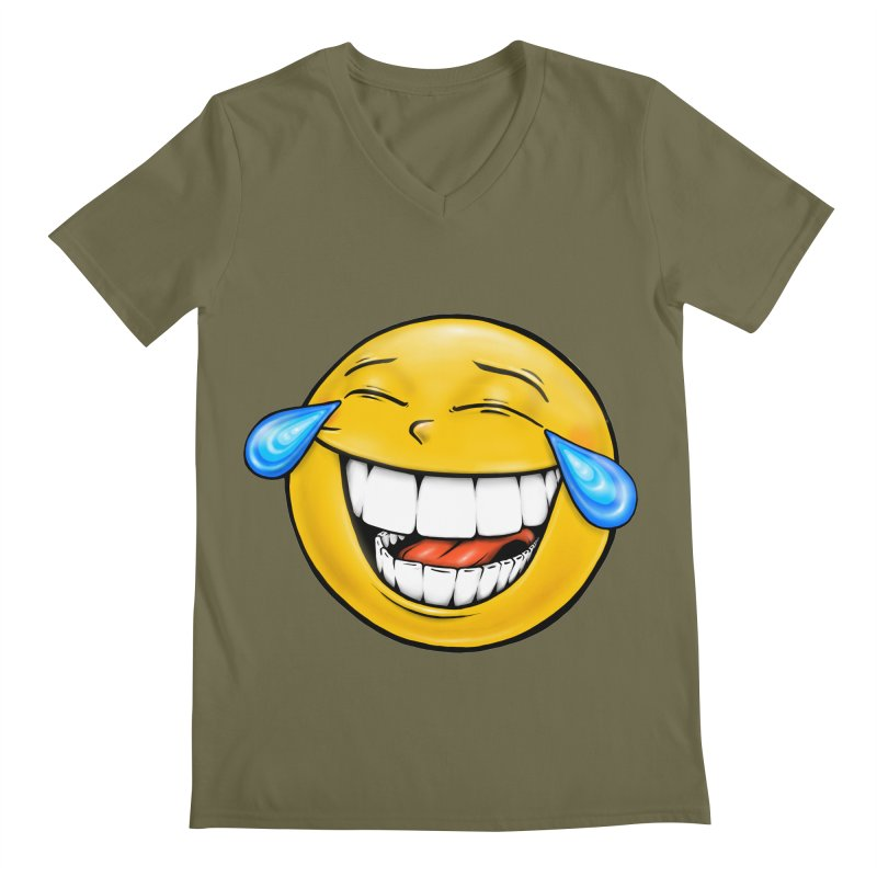 Crying Laughing Emoji Men's Regular V-Neck by IDC Art House