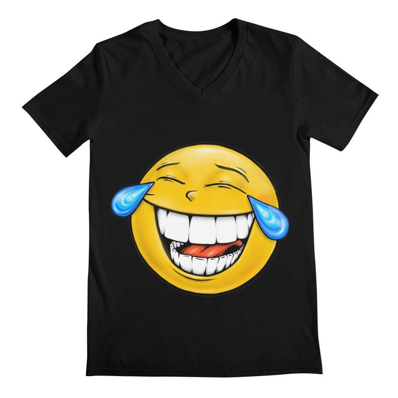 Crying Laughing Emoji Men's Regular V-Neck by Stiky Shop