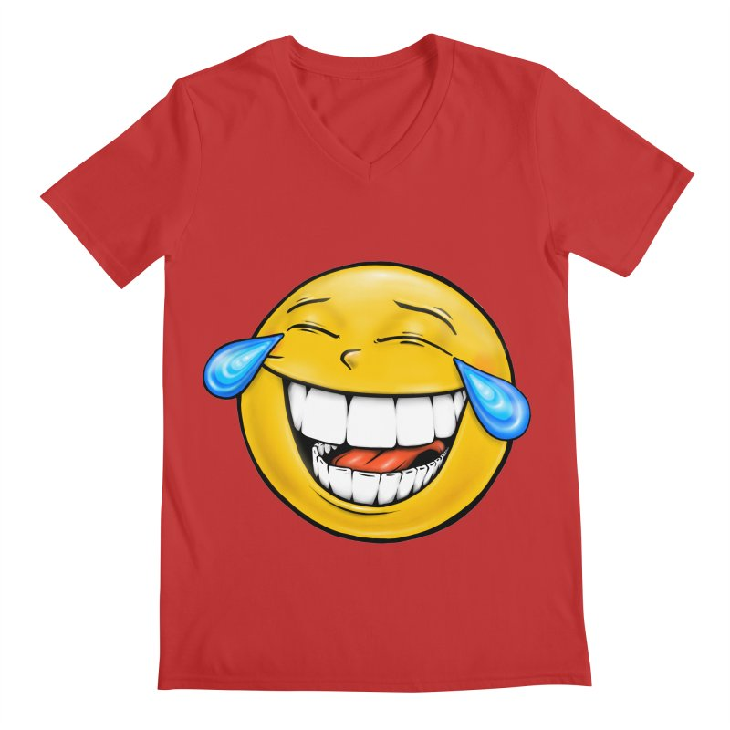 Crying Laughing Emoji Men's Regular V-Neck by Stiky Shop