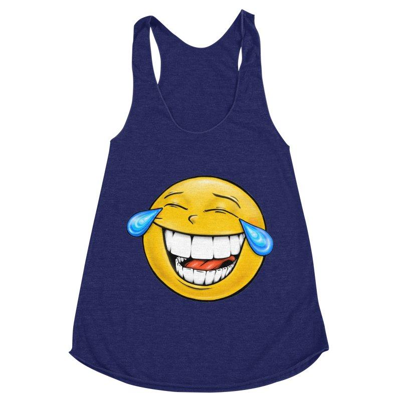 Crying Laughing Emoji Women's Racerback Triblend Tank by Stiky Shop