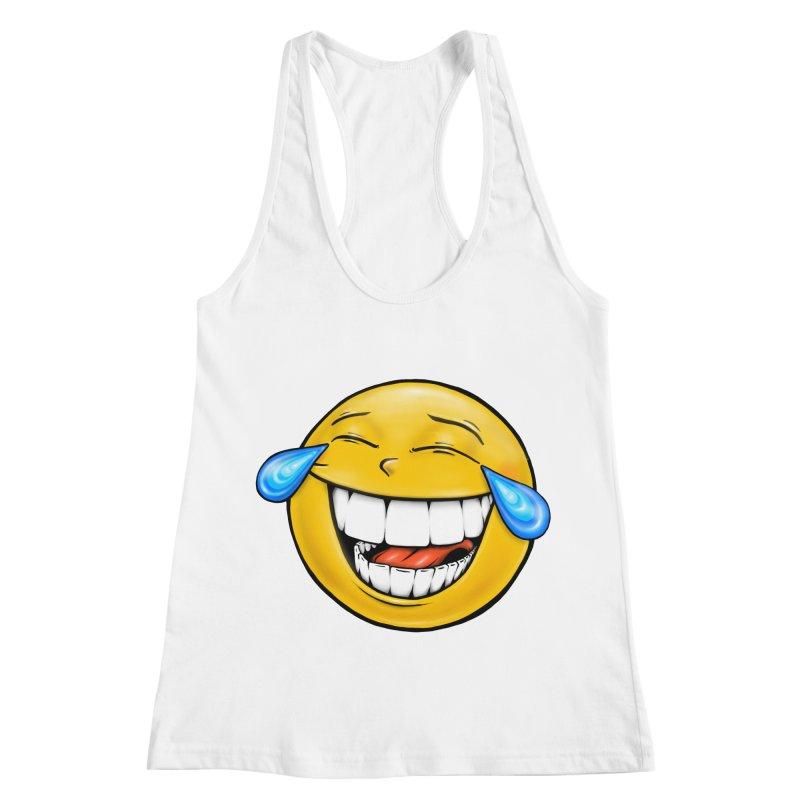 Crying Laughing Emoji Women's Racerback Tank by Stiky Shop