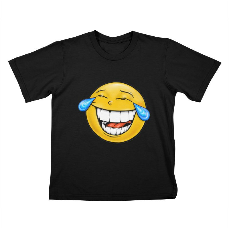 Crying Laughing Emoji Kids T-Shirt by Stiky Shop