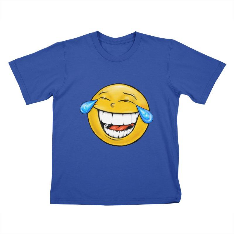Crying Laughing Emoji Kids T-Shirt by IDC Art House