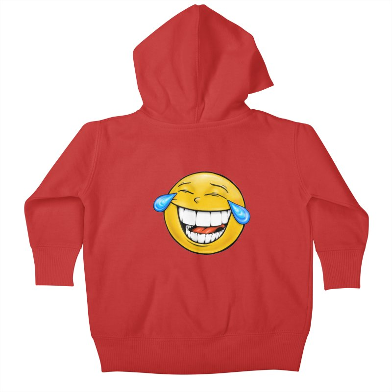 Crying Laughing Emoji Kids Baby Zip-Up Hoody by IDC Art House