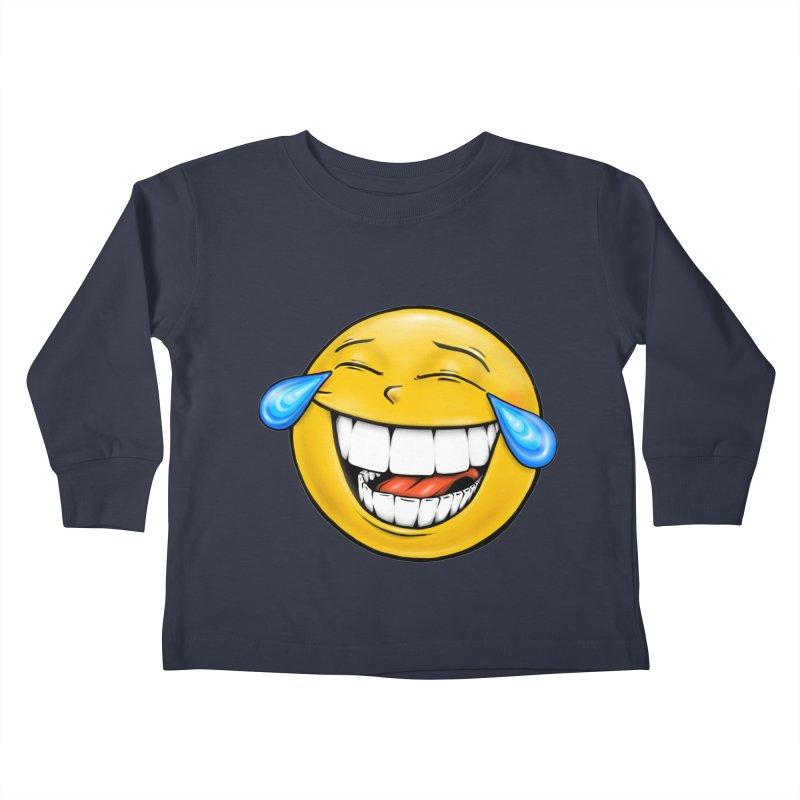 Crying Laughing Emoji Kids Toddler Longsleeve T-Shirt by Stiky Shop