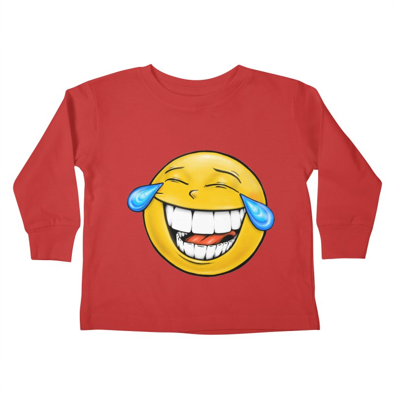 Crying Laughing Emoji Kids Toddler Longsleeve T-Shirt by Stiky Shop