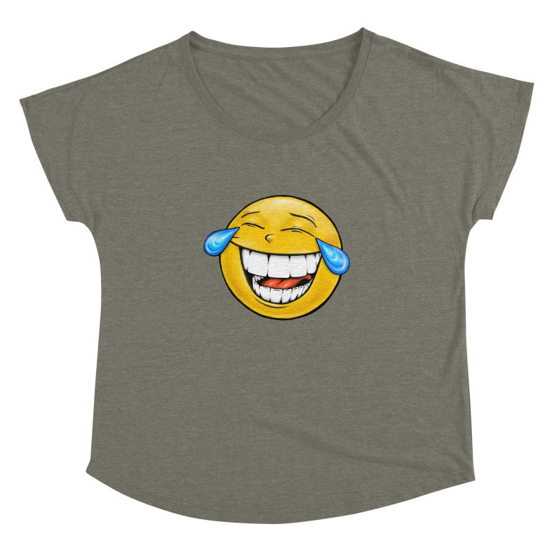 Crying Laughing Emoji Women's Dolman Scoop Neck by IDC Art House