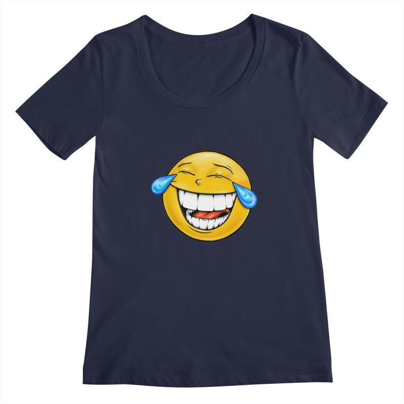Crying Laughing Emoji Women's Regular Scoop Neck by IDC Art House