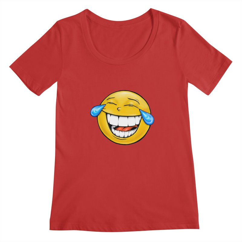 Crying Laughing Emoji Women's Regular Scoop Neck by Stiky Shop
