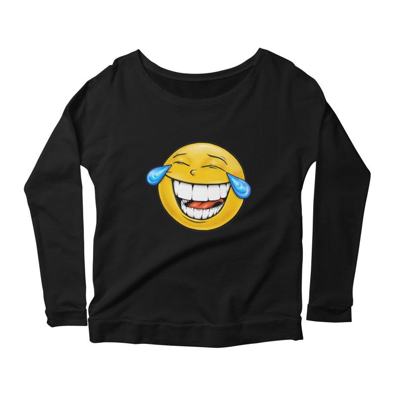 Crying Laughing Emoji Women's Scoop Neck Longsleeve T-Shirt by Stiky Shop