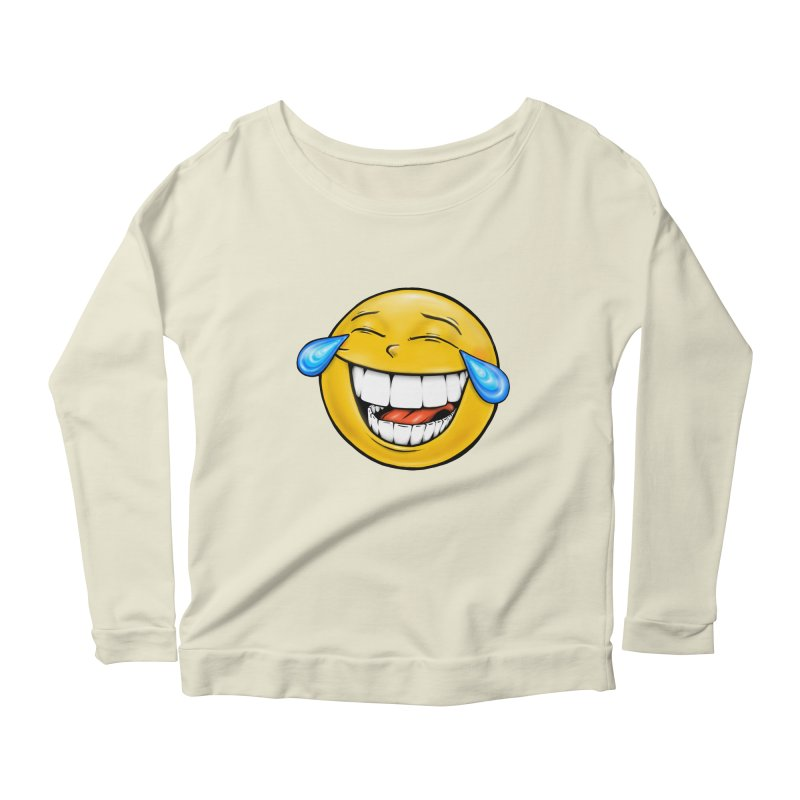 Crying Laughing Emoji Women's Scoop Neck Longsleeve T-Shirt by IDC Art House