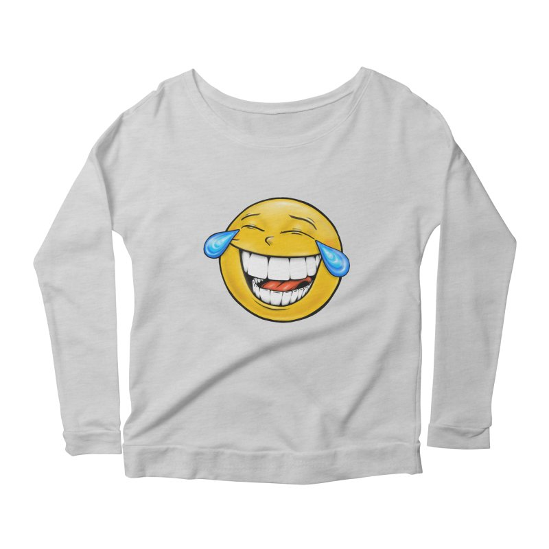 Crying Laughing Emoji Women's Scoop Neck Longsleeve T-Shirt by Stiky Shop