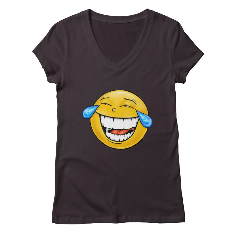 Crying Laughing Emoji Women's Regular V-Neck by Stiky Shop