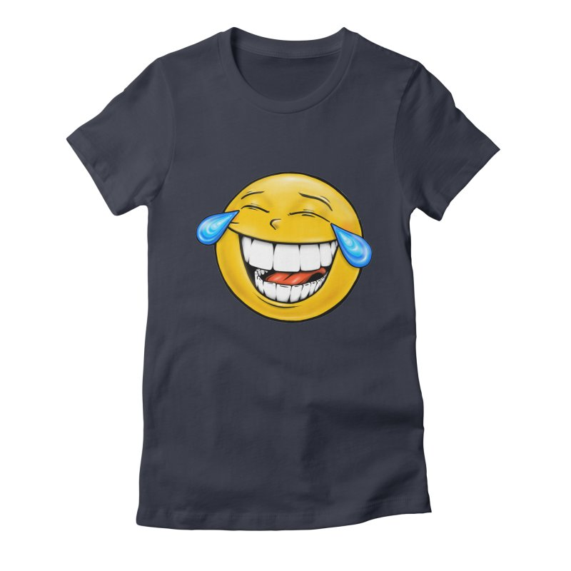 Crying Laughing Emoji Women's Fitted T-Shirt by Stiky Shop