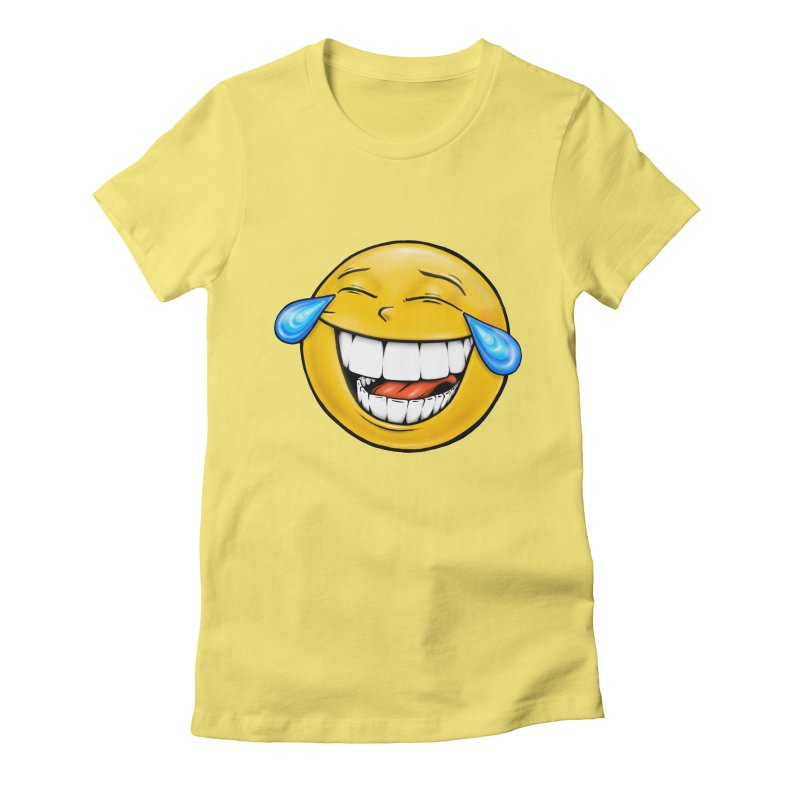 Crying Laughing Emoji Women's Fitted T-Shirt by IDC Art House