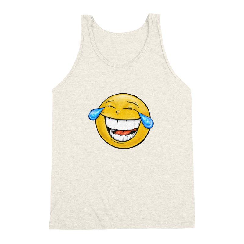 Crying Laughing Emoji Men's Triblend Tank by IDC Art House