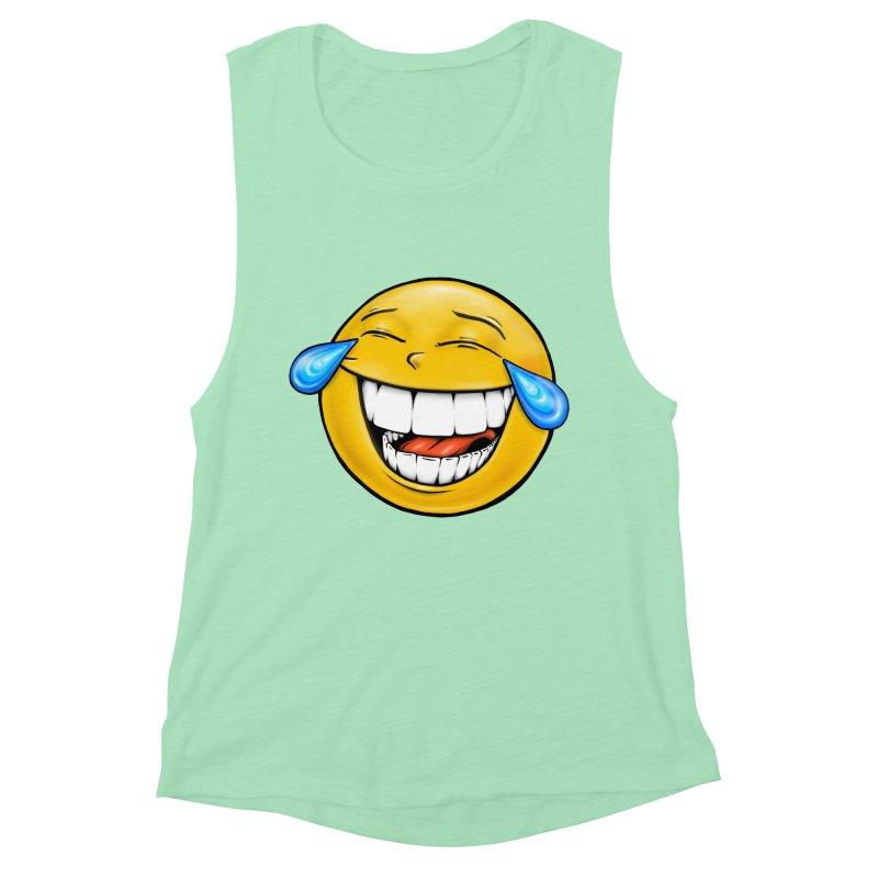Crying Laughing Emoji Women's Muscle Tank by Stiky Shop