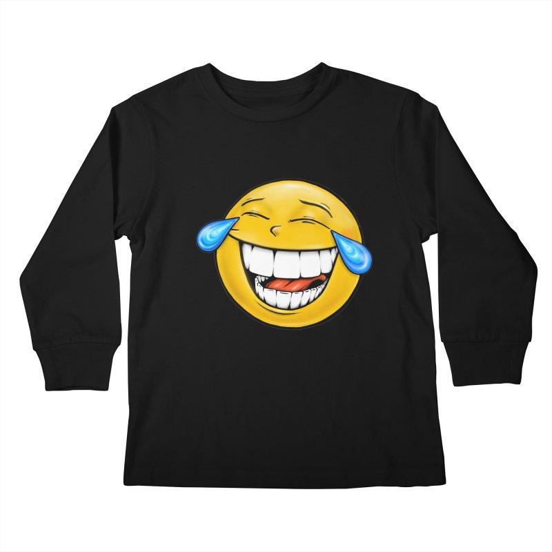 Crying Laughing Emoji Kids Longsleeve T-Shirt by IDC Art House