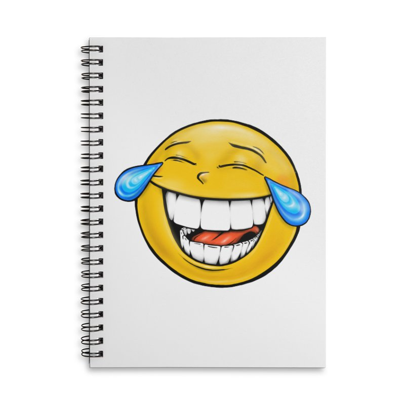 Crying Laughing Emoji Accessories Lined Spiral Notebook by Stiky Shop