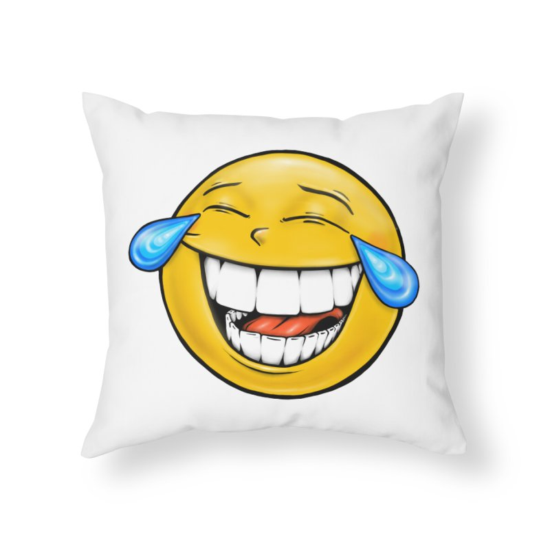 Crying Laughing Emoji Home Throw Pillow by Stiky Shop