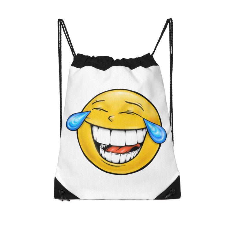 Crying Laughing Emoji Accessories Drawstring Bag Bag by Stiky Shop