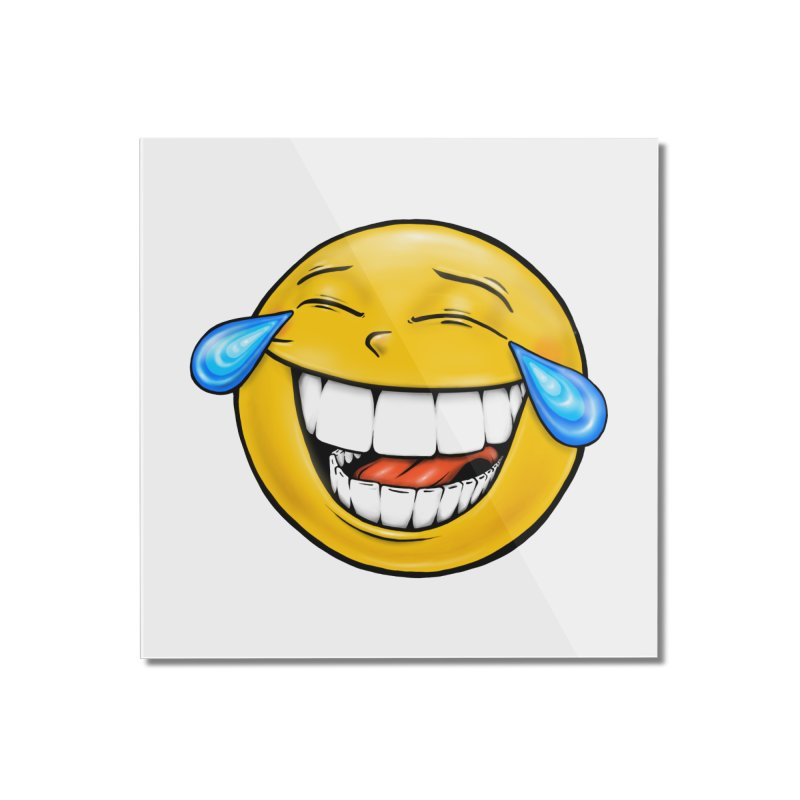 Crying Laughing Emoji Home Mounted Acrylic Print by Stiky Shop