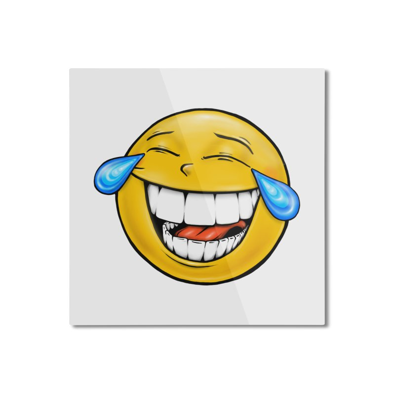 Crying Laughing Emoji Home Mounted Aluminum Print by Stiky Shop