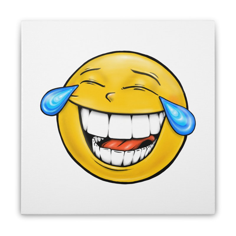 Crying Laughing Emoji Home Stretched Canvas by Stiky Shop
