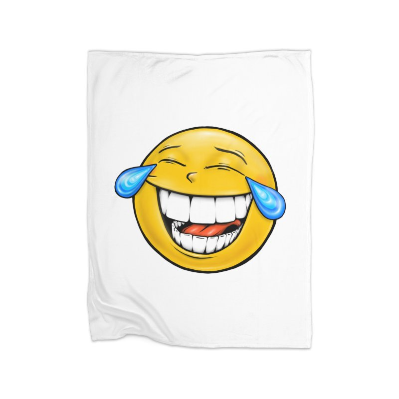 Crying Laughing Emoji Home Fleece Blanket Blanket by Stiky Shop