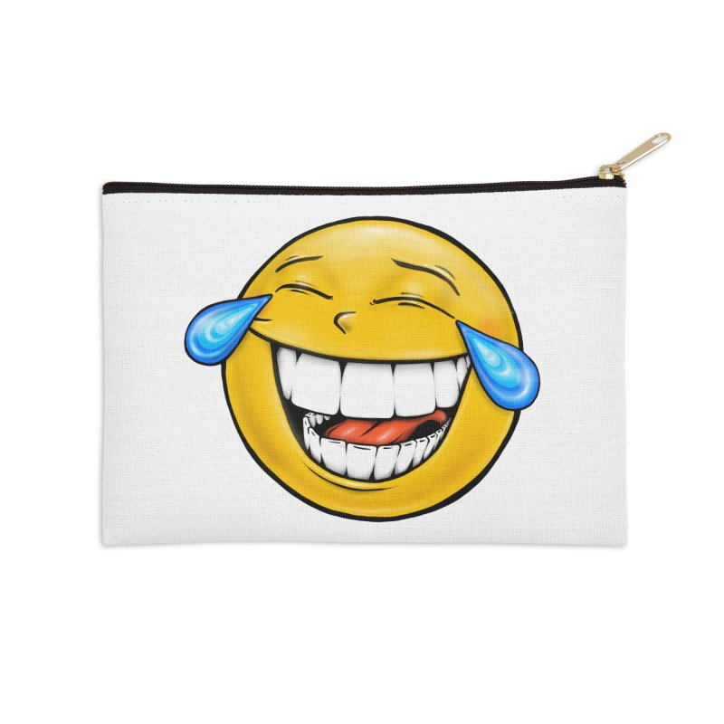 Crying Laughing Emoji Accessories Zip Pouch by IDC Art House